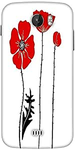 Snoogg Stylish Red And Black Poppies On White Background Designer Protective Back Case Cover For Micromax A110