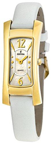 Festina F16248/1 - Reloj de mujer de cuarzo, correa color blanco y caja chapada en oro