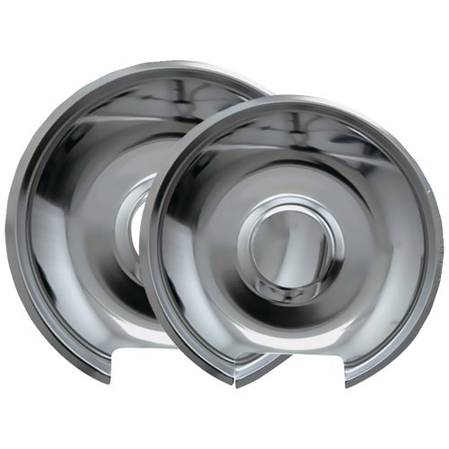 """1 - Chrome Drip Pans, 2 Pk (Style E), Pack Includes One 6"""" Pan & One 8"""" Pan, Fits Most Hinged Electric Ranges Including Amana(R), Frigidaire(R), Maytag(R), Tappan(R) & Whirlpool(R) Models, 10342X"""
