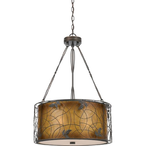 Quoizel MC844CRC Mica 3-Light Pendant from the Quoizel Naturals Collection with Mica Shade, Renaissance Copper
