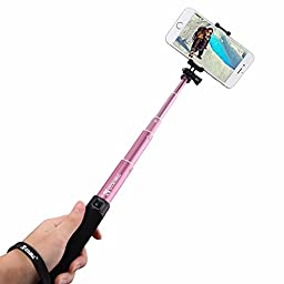 Coolreall Extendable Selfie Stick Monopod with Adjustable Clamp - Pink (Build-in Bluetooth Shutter)