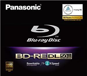 Panasonic LM-BE50DE 12cm Blu-Ray Rohling 50GB (2-fache Brenngeschwindigkeit, wiederbeschreibbar) Videobox