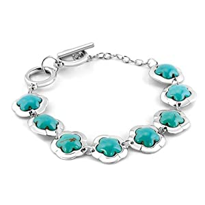 Pugster Silver Tone Bling Jewelry Trendy Genuineturquoise Flowers Bracelet