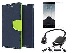 Online Street Combo Pack of Flip Cover For Lenovo A2010- (Blue Flip+ Tempered+OTG)