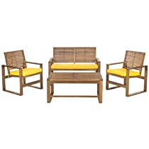 Hot Sale Safavieh Home Collection Hailey Outdoor Living 4-Piece Acacia Patio Furniture Set, Brown and Yellow