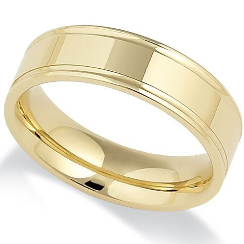 Track Edged 9Ct Gold Wedding Ring in a 6mm Flat Court Profile - Size S