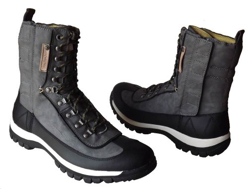 Calvin Klein Harper Men's Leather Utility Boots (13 M, Grey/Black)