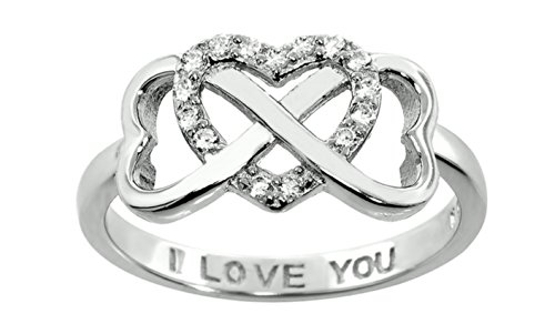 Sterling Silver .925 Double Heart Infinity Ring Sizes 5=9 (5) (Two Tone Heart Ring compare prices)