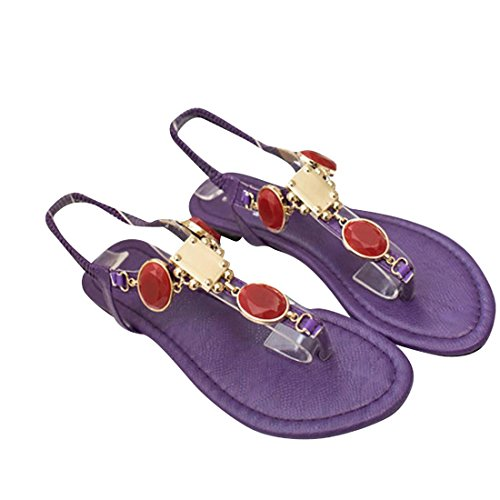 jeansian Moda Donna Gemstone Boemia Spiaggia Sandali Sandals WSB001 Purple & Red 38