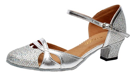 Abby AQ-7007 Womens Latin Tango Ballroom Party wedding Block Heel Round-toe PU Dance-shoes Silver US Size7