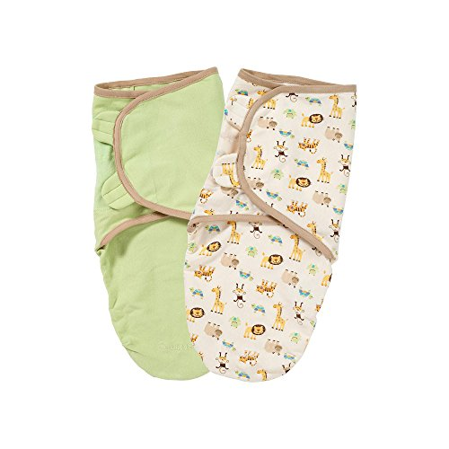 Summer Infant 2 Pack Organic Cotton Knit Swaddleme, Sage and Zoo - 1