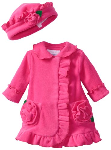 New Bonnie Baby Baby-girls Ruffle Fleece Coat And Hat Set