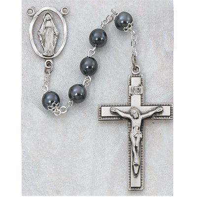 STERLING SILVER 7MM BEAD IMITATION HEMATITE ROSARY