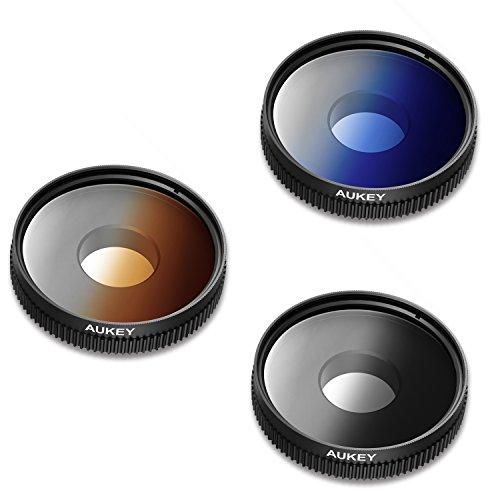 Aukey グラデーションフィルターレンズ ブルー/グレー/オレンジ 3色セット クリップ式 素材アクリルレンズ iPhone Samsung Sonyなどのスマートフォン対応 PF-S1