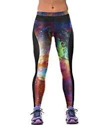 iSweven 3D Sky Design Printed Polyester Multicolor Yoga pant Tight legging for womens girls