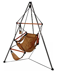 Tripod Stand Hammock Chair Combo Color: Natural Tan, Dowels: Wood