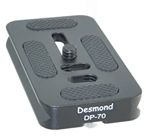 Desmond P-70 70mm QR Lens Plate Arca Compatible Dual Dovetail and D-Ring P70 DP-70