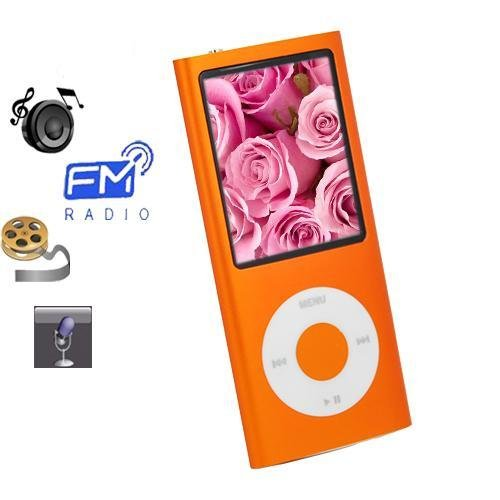 8gb Slim 1.8 LCD Mp3/Mp4 Music Video FM Radio Media Player ORANGE