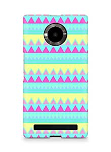Amez designer printed 3d premium high quality back case cover for YU Yupheria (hipster blue yellow pink triangle )