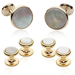 Mother of Pearl and 14kt Gold Overlay Cufflinks and Studs