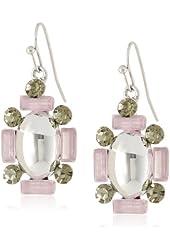 Jessica Simpson Stone Cluster Silver Drop Earrings