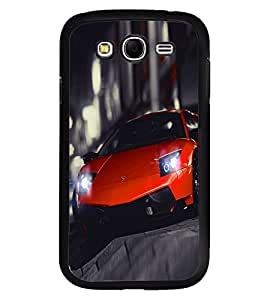 Fuson Premium Orange Racing Car Metal Printed with Hard Plastic Back Case Cover for Samsung Galaxy Grand Duos i9080 i9082