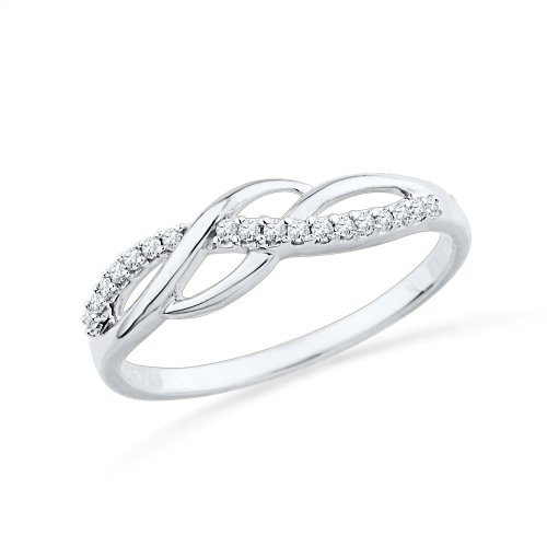 Sterling Silver Round Diamond Twisted Fashion Ring (1/10 cttw) (Fashion Diamond Rings compare prices)