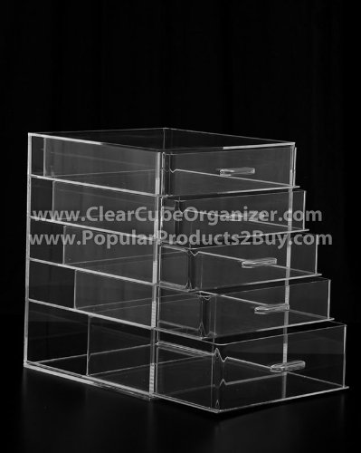 ACRYLIC CLEAR CUBE MAKEUP ORGANIZER W/5 DRAWERS