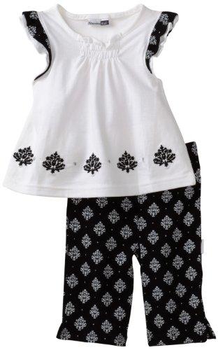Vitamins Baby Girl Infant Medallion Two-Piece Capri Set, Black, 18 Months