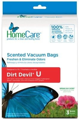 Febreze Vacuum Bags -- Fits Dirt Devil Swivel Gold, Platinum Force Bagged, Featherglide, Breeze Lightweight, Ultra Mvp & Magnum Mvp Uprights -- Style Dirt Devil U -- 100 Premium Allergen Filtration -- Pkg Of 3 Bags