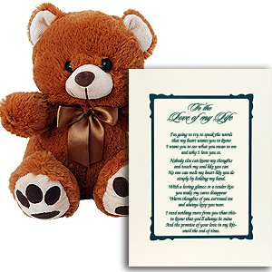 I Love You Gift for Wife, Husband, Boyfriend or Girlfried - Makes a Perfect Valentine Gift - Includes a Plush Teddy Bear and Love Poem in Picture Frame Matte