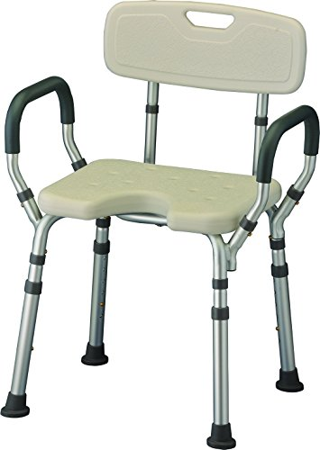 NOVA Medical Products Bath Seat with Arms & U-Shaped Cutout, White, 7 Pound U-Shaped Assembly