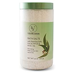 Verbiena Dead Sea Salt with Eucalyptus and Rose Essential Oil Epsom Bath Salt with Dead Sea Salt Minerals