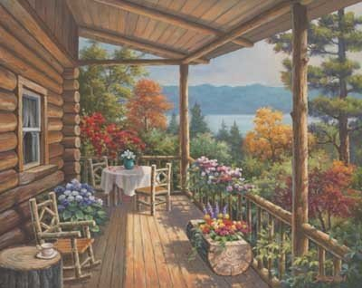 Log Cabin Covered Porch by Sung Kim 20.00X16.00. Art Poster Print