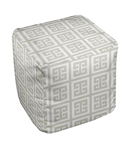 E by design Geometric Pouf, 13-Inch, Latte