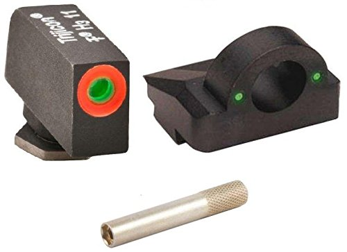 Ultimate Arms Gear Pro 3 Dot Tactical Combat Target Glock Front And Rear Ghost Ring Sight Set with High Visibility Green Dot Trijicon Tritium with Orange Outline for Glock Pistol 17 19 22 23 24 26 27 33 34 35 37 38 39 + 1.5