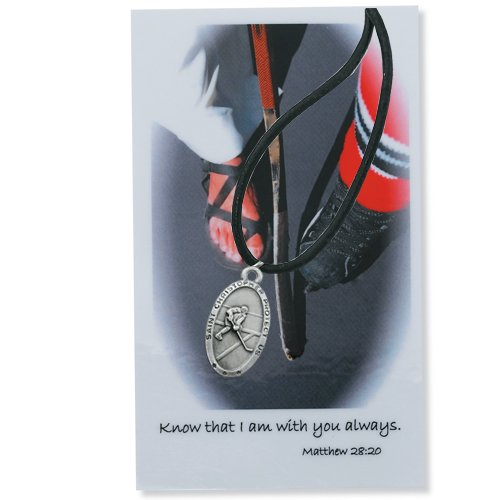 Hockey Medal Prayer Card Catholic Sports Pendant Charm Christian
