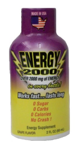 Global Brands Energy 2000 Drink Shot Energy Supplement, Grape Flavor, 2-Ounce Bottles (Pack of 12)