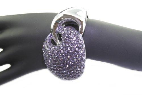 Ladies - bangles, rhinestones, silver purple, spring closure, 4 cm wide, 5.5 cm diameter