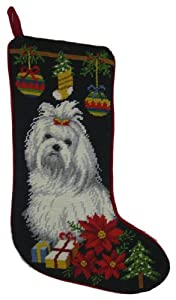 Maltese Needlepoint Stocking