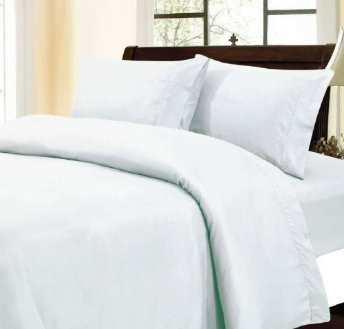 "300 Thread Count 100% Egyptian Cotton Solid White King 30"" Deep Pocket Sheet Set front-1033568"