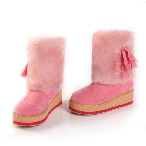 Women's Sweet Style Pretty Ties Downy Ankle-high Sleeve Round Toe Platform Flat Boots