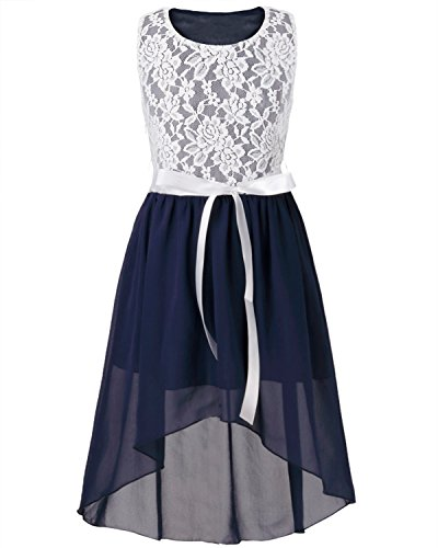 FEESHOW Kids Big Girls Lace Flower High Low Chiffon Bridesmaid Dress Dance Party Navy Blue 14