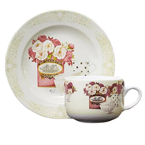 Hand-Drawn English Elegant& Romantic Style Coffee Cup Tea Cup With Dish,White