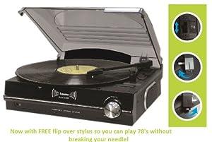 Steepletone ST926 3-Speed Record Player/ Turntable/ Black - Free Flip Over Stylus