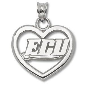 East Carolina University Pierced Heart Pendant - Sterling Silver by Logo Art