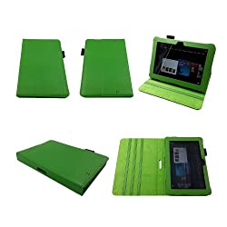 Bear Motion ® Premium 100% Genuine Leather Case for Kindle Fire HD 8.9 Inch Tablet Cover with Loop for Stylus (Stylus NOT included) (Wake or put your device to sleep by opening or closing the case) - Green MP
