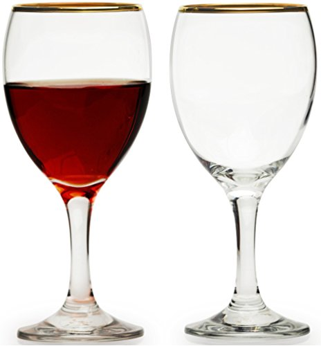 Circleware Imperial Gold Rimmed Wine Glasses Set, 10 Ounce, Set of 4, 3mm Gold Rim, Limited Edition Glassware Drinkware Red/white wine high class drinking cups (Pitcher Sets Gold compare prices)