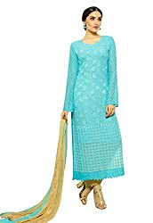 Zombom Blue Georgette Embroidered Un-stitched Salwar Suit