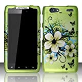 Motorola Droid Razr Maxx XT912M Accessory - Green Hibiscus Hawaii Flower Design Protective Hard Case Cover for Verizon+Screen/Lens Cleaning Cloth